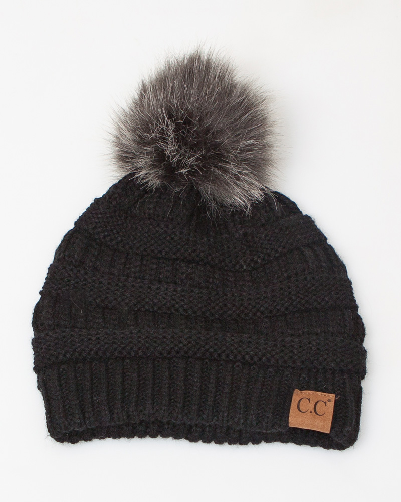 C.C. Faux Fur Pom-Pom Beanie  778325e564d