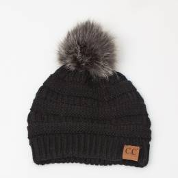 C.C. Faux Fur Pom-Pom Beanie in Black