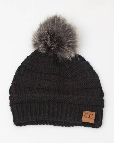 Faux Fur Pom-Pom Beanie in Black