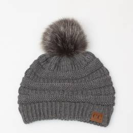C.C. Faux Fur Pom-Pom Beanie in Dark Grey