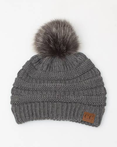 Faux Fur Pom-Pom Beanie in Dark Grey