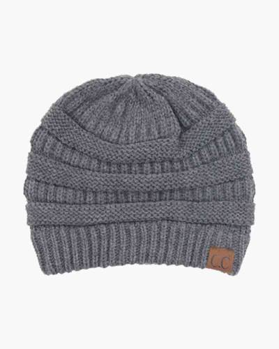Chunky Cable Knit Beanie in Dark Grey