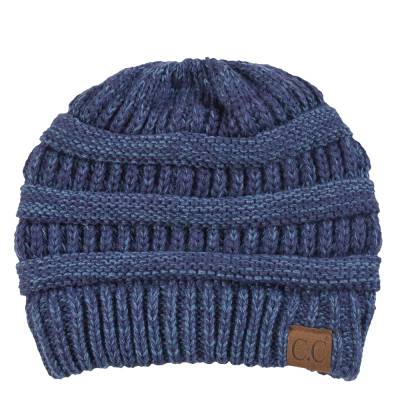 Chunky Cable Knit Beanie in Blue