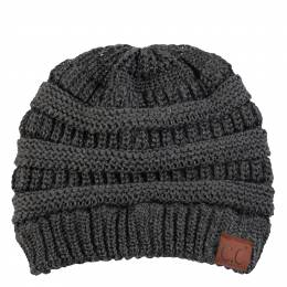 C.C. Chunky Cable Knit Beanie in Dark Metallic Grey