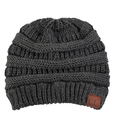 Chunky Cable Knit Beanie in Dark Metallic Grey