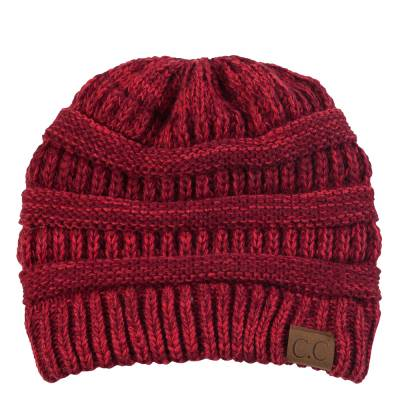 Chunky Cable Knit Beanie in Red