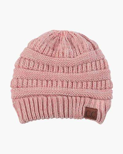 Chunky Cable Knit Beanie in Two-Tone Pink