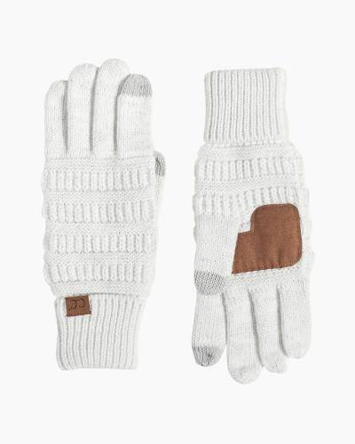 Knit Tech Gloves in Metallic Ivory