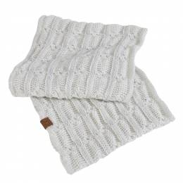 C.C. Knit Infinity Scarf in Metallic Ivory