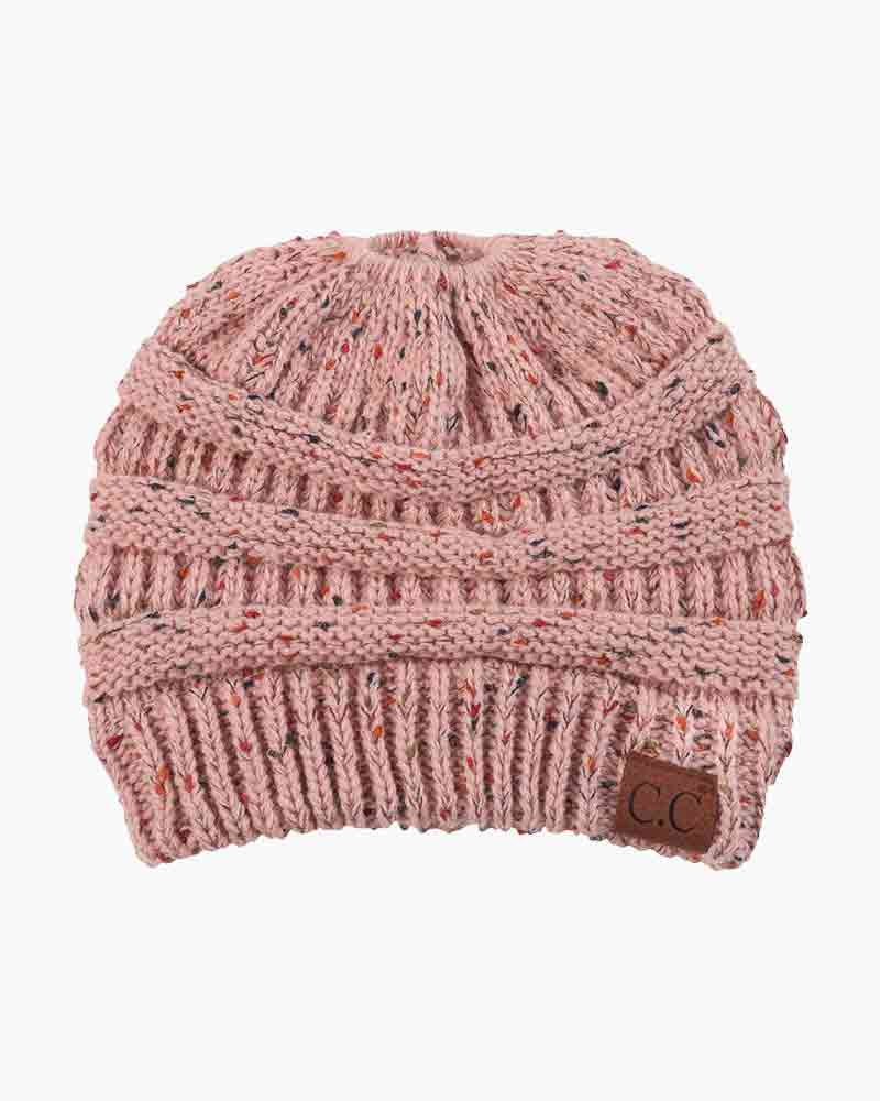C.C. Messy Bun Knit Beanie in Pink Confetti  541e1da96cf