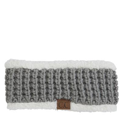 Faux Sherpa Fleece Chunky Knit Headband in Grey