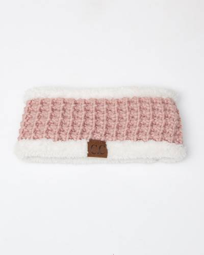 Faux Sherpa Fleece Chunky Knit Headband in Rose