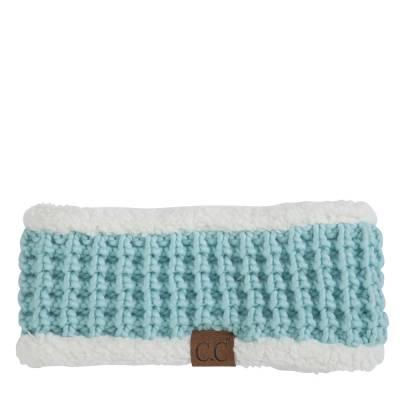 Faux Sherpa Fleece Chunky Knit Headband in Mint