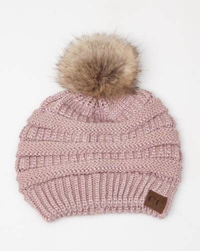 Faux Fur Pom-Pom Beanie in Metallic Rose