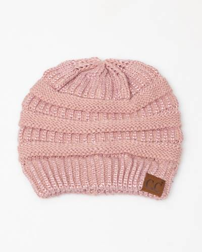 Chunky Cable Knit Beanie in Metallic Rose