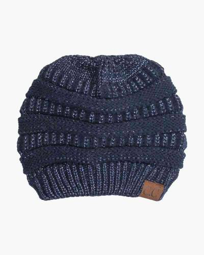 Chunky Cable Knit Beanie in Metallic Navy