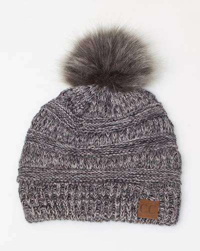 Multicolor Knit Beanie in Grey and White