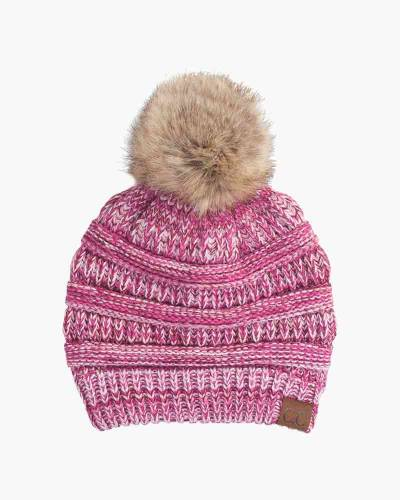 Multicolor Knit Beanie in Pink and Red