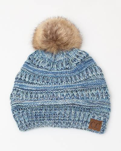 Multicolor Knit Beanie in Denim and Mint
