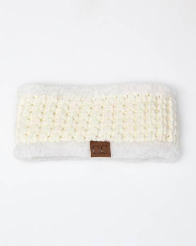 Faux Sherpa Fleece Chunky Knit Headband in Ivory