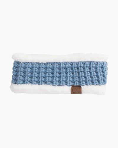 Faux Sherpa Fleece Chunky Knit Headband in Denim Blue