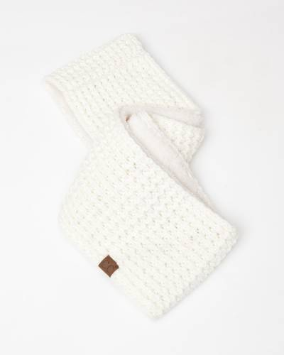 Faux Sherpa Chunky Knit Infinity Scarf in Ivory