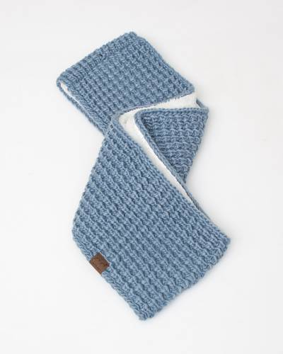 Faux Sherpa Chunky Knit Infinity Scarf in Denim Blue