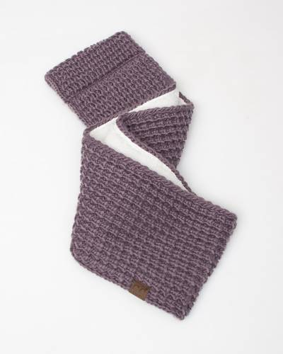 Faux Sherpa Chunky Knit Infinity Scarf in Violet
