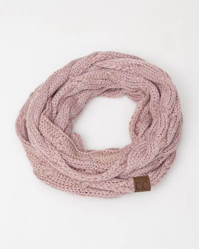 Knit Infinity Scarf in Rose Metallic