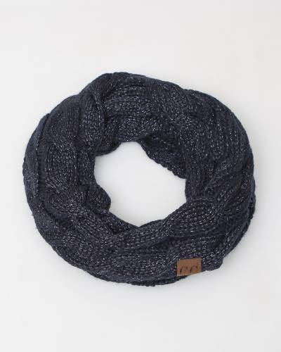 Knit Infinity Scarf in Navy Metallic