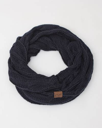 Knit Infinity Scarf in Navy