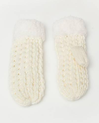 Faux Sherpa Fleece Chunky Knit Gloves