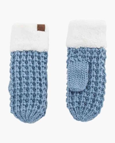 Faux Sherpa Fleece Chunky Knit Gloves in Denim