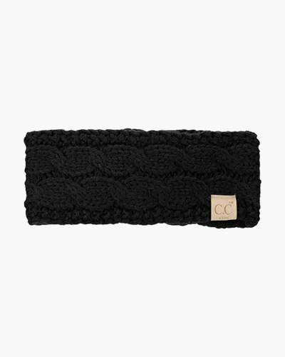 Kids Cable Knit Headband in Black