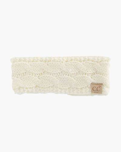 Kids Cable Knit Headband in Ivory