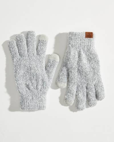 Fuzzy Boucle Gloves in Ivory