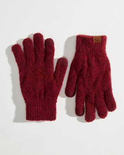 Fuzzy Boucle Gloves in Burgundy