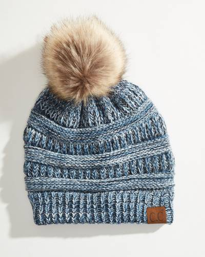 Multicolor Beanie with Pom-Pom