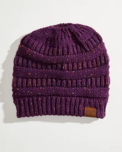 Messy Bun Knit Beanie in Purple