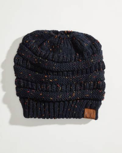 Messy Bun Knit Beanie in Navy