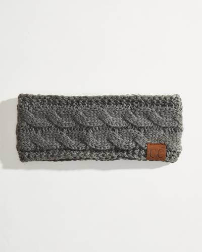 Solid Cable Knit Head Wrap in Dark Melange Grey