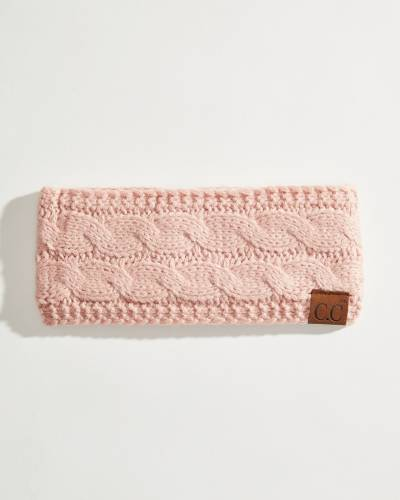 Solid Cable Knit Head Wrap in Rose