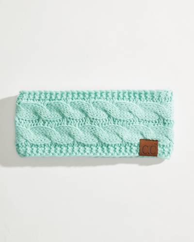 Solid Cable Knit Head Wrap in Mint