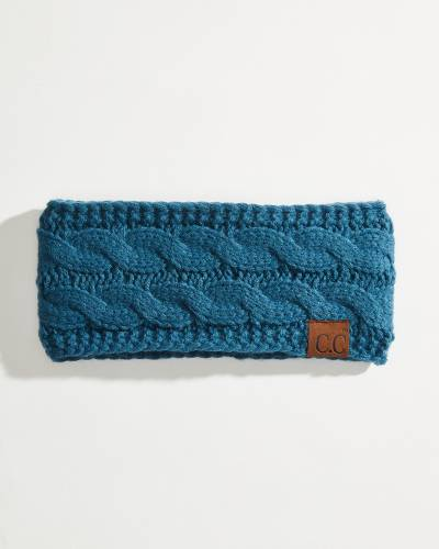 Solid Cable Knit Head Wrap in Teal