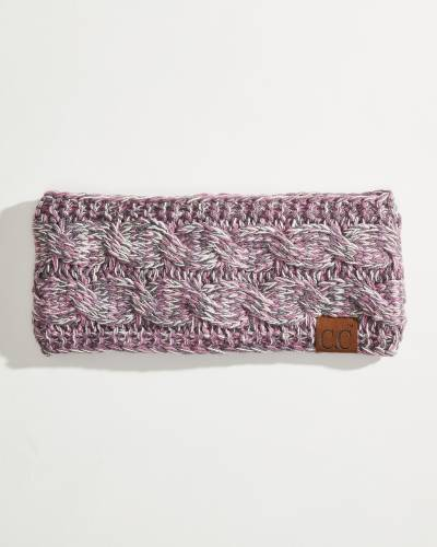 Multicolor Cable Knit Head Wrap in Violet, Ivory, and Grey