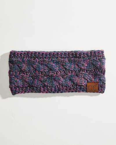 Multicolor Cable Knit Head Wrap in Teal, Magenta, and Navy
