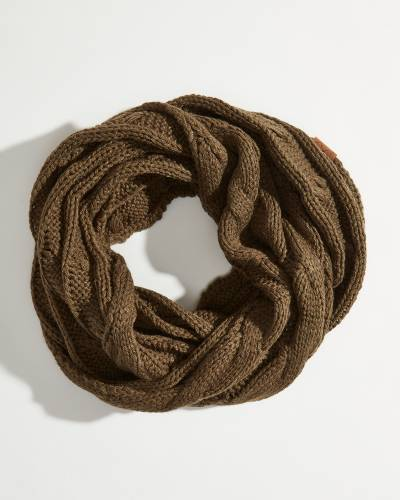 Solid Cable Knit Infinity Scarf in New Olive