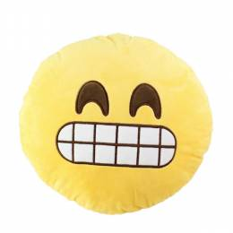 Top Trenz Grinning Smiley Emoji Pillow