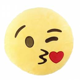Top Trenz Kiss Face Smiley Emoji Pillow