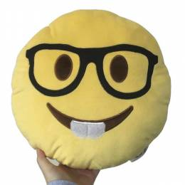 Top Trenz Nerd Boy Smiley Emoji Pillow